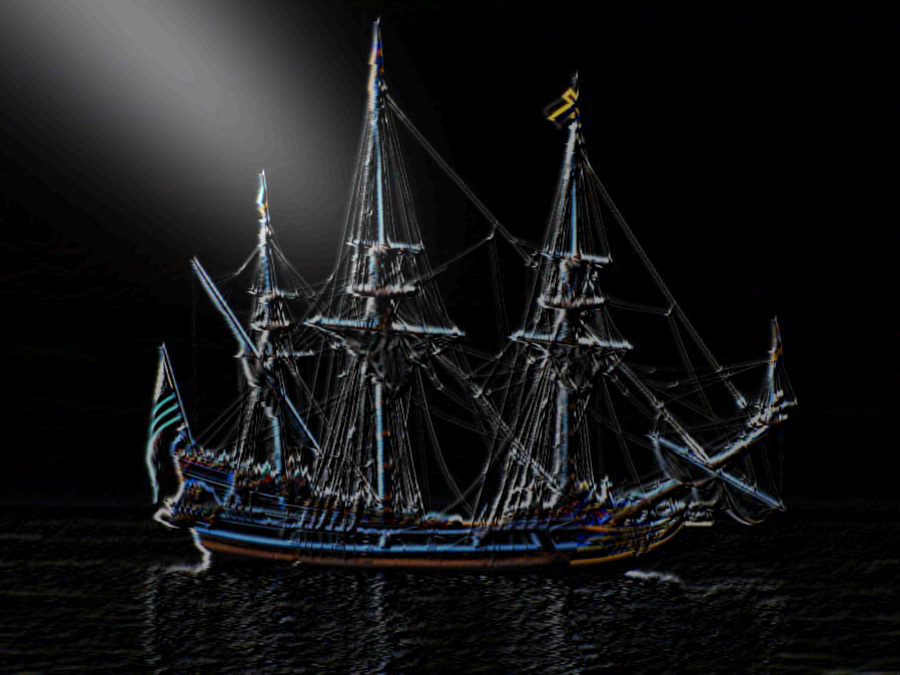 Barco en negativo